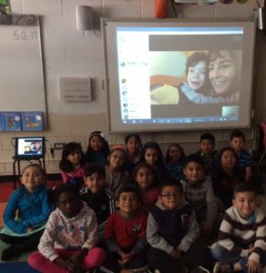 Mom-Son Author Visits with Students